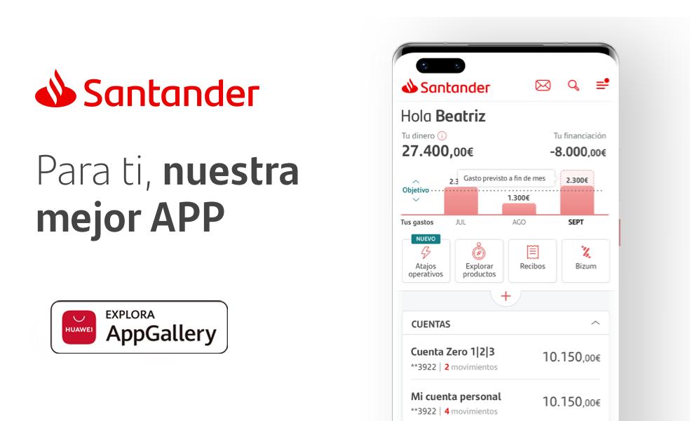 Foto de La app de Santander aterriza en AppGallery ampliando la
